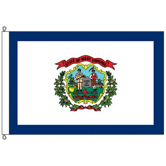 SF-1218-WESTVIRGINIA West Virginia 12' x 18' Nylon Flag with Rope and Thimble-0