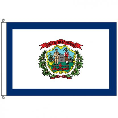 SF-812-WESTVIRGINIA West Virginia 8' x 12' Nylon Flag with Rope and Thimble-0