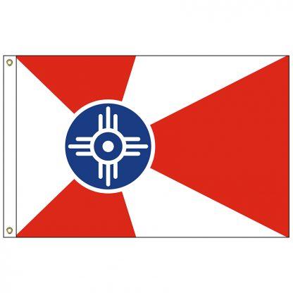 CF-5X8-WICHITA Wichita 5' x 8' Nylon Flag with Heading and Grommets-0