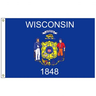 SF-104P-WISCONSIN Wisconsin 4' x 6' 2-ply Polyester Flag with Heading and Grommets-0