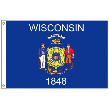 """SF-101-WISCONSIN Wisconsin 12"""" x 18"""" Nylon Flag with Heading and Grommets-0"""