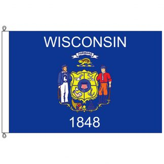 SF-812-WISCONSIN Wisconsin 8' x 12' Nylon Flag with Rope and Thimble-0