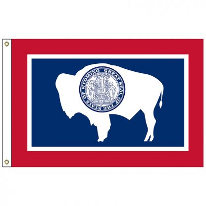 SF-104P-WYOMING Wyoming 4' x 6' 2-ply Polyester Flag with Heading and Grommets-0