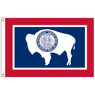 SF-106-WYOMING Wyoming 6' x 10' Nylon Flag with Heading and Grommets-0