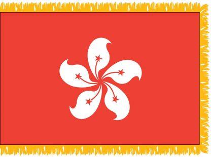 FWI-235-4X6HONGKONG Hong Kong 4' x 6' Indoor Flag with Pole Sleeve and Fringe-0