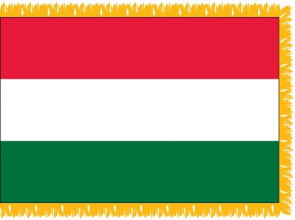 FWI-210-3X5HUNGARY Hungary 3' x 5' Indoor Flag with Pole Sleeve and Fringe-0