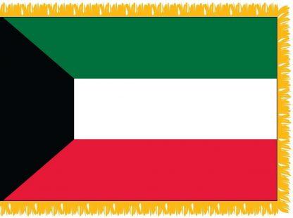 FWI-230-3X5KUWAIT Kuwait 3' x 5' Indoor Flag with Pole Sleeve and Fringe-0