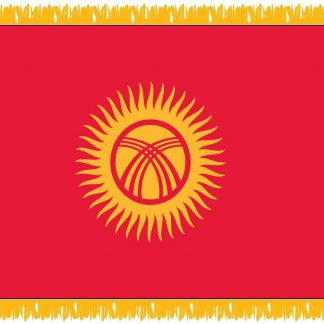 FWI-235-4X6KYRGYZSTA Kyrgystan 4' x 6' Indoor Flag with Pole Sleeve and Fringe-0