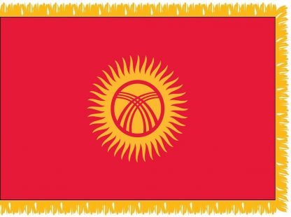 FWI-235-4X6KYRGYZSTA Kyrgystan 4' x 6' Indoor Flag with Pole Sleeve and Fringe-0