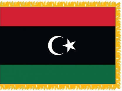 FWI-210-3X5NEWLIBYA Libya (2011-Present) 3' x 5' Indoor Flag with Pole Sleeve and Fringe-0