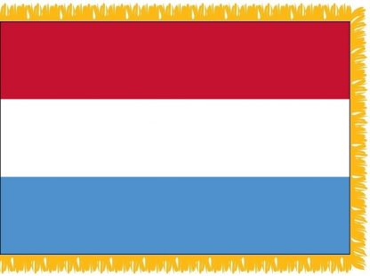 FWI-210-3X5LUXEMBOUR Luxembourg 3' x 5' Indoor Flag with Pole Sleeve and Fringe-0