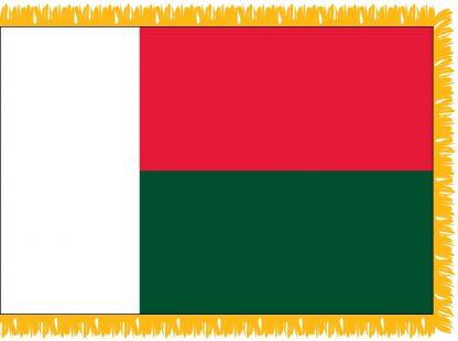 FWI-220-3X5MADAGASCA Madagascar 3' x 5' Indoor Flag with Pole Sleeve and Fringe-0