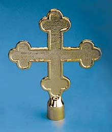 "GBO-140 7 1/2"" Botonee Cross Metal Flagpole Ornament-0"