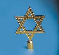 "GBO-125 6"" Star Of David Metal Flagpole Ornament-0"