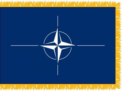 FWI-225-3X5NATO NATO 3' x 5' Indoor Flag with Pole Sleeve and Fringe-0