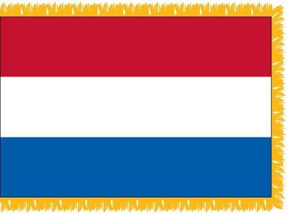FWI-210-4X6NETHERLAN Netherlands 4' x 6' Indoor Flag with Pole Sleeve and Fringe-0