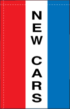 WC-8V-NEWCARS New Cars 2.5' x 5' Windchaser Vertical Message Flag-0