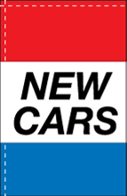 WC-8H-NEWCARS New Cars 2.5' x 5' Windchaser Horizontal Message Flag-0