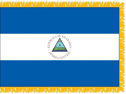 FWI-230-4X6NICARAGUA Nicaragua with Seal 4' x 6' Indoor Flag with Pole Sleeve and Fringe-0