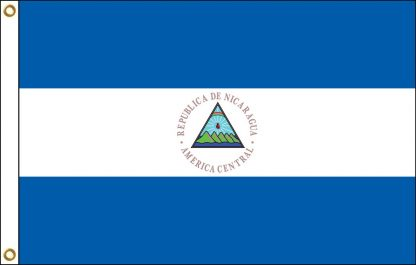 035162 Nicaragua with Seal 6' x 10' Outdoor Nylon Flag with Heading and Grommets-0