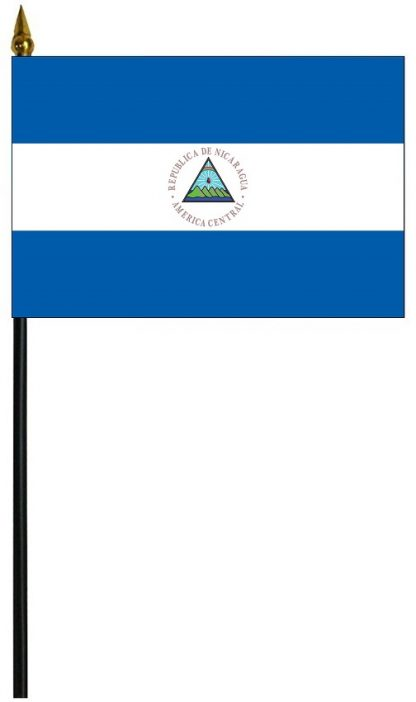 """MRF-46-NICARAGUA-S Nicaragua with Seal 4"""" x 6"""" Staff Mounted Rayon-0"""