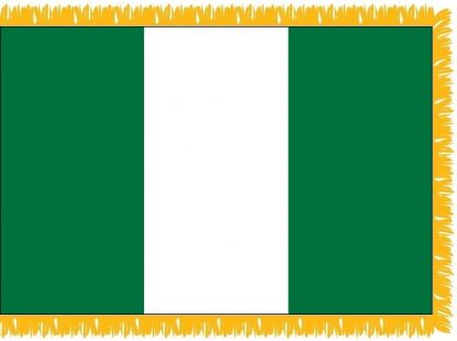 FWI-215-4X6NIGERIA Nigeria 4' x 6' Indoor Flag with Pole Sleeve and Fringe-0