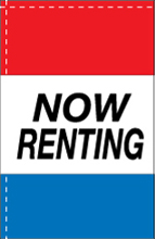 WC-8H-NOWRENTING Now Renting 2.5' x 5' Windchaser Horizontal Message Flag-0
