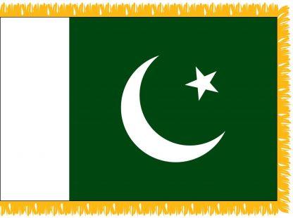 FWI-230-4X6PAKISTAN Pakistan 4' x 6' Indoor Flag with Pole Sleeve and Fringe-0