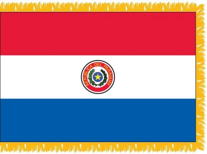 FWI-240-3X5PARAGUAY Paraguay 3' x 5' Indoor Flag with Pole Sleeve and Fringe-0