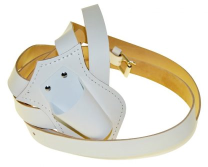 PCB-115 Single Harness Leather Carrying Belts, White-0
