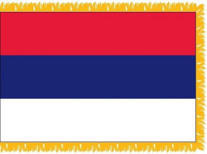 FWI-210-3X5SERBIA Serbia 3' x 5' Indoor Flag with Pole Sleeve and Fringe-0