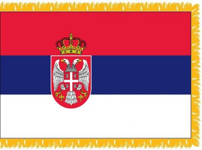 FWI-240-SERBIA Serbia with Seal 2' x 3' Indoor Flag with Pole Sleeve and Fringe-0