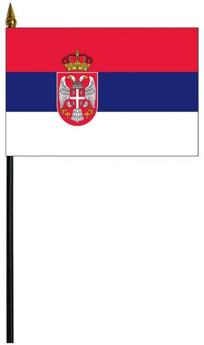 "MRF-46-4X6SERBIA Serbia with Seal 4"" x 6"" Staff Mounted Rayon-0"