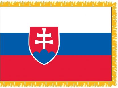 FWI-240-4X6SLOVAKIA Slovakia 4' x 6' Indoor Flag with Pole Sleeve and Fringe-0