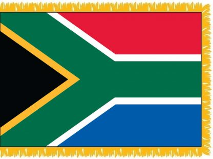 FWI-235-4X6SOUTHAFRI South Africa 4' x 6' Indoor Flag with Pole Sleeve and Fringe-0