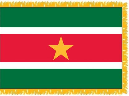 FWI-235-4X6SURINAME Suriname 4' x 6' Indoor Flag with Pole Sleeve and Fringe-0