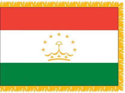 FWI-235-4X6TAJIKISTA Tajikistan 4' x 6' Indoor Flag with Pole Sleeve and Fringe-0
