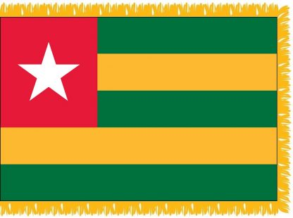 FWI-230-3X5TOGO Togo 3' x 5' Indoor Flag with Pole Sleeve and Fringe-0
