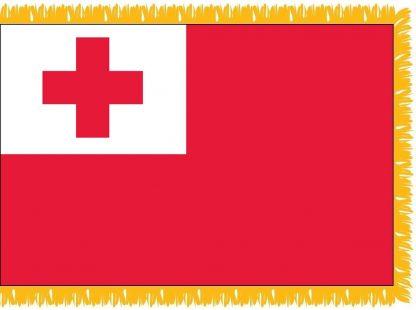 FWI-240-3X5TONGA Tonga 3' x 5' Indoor Flag with Pole Sleeve and Fringe-0