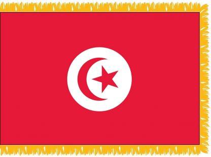 FWI-240-3X5TUNISIA Tunisia 3' x 5' Indoor Flag with Pole Sleeve and Fringe-0