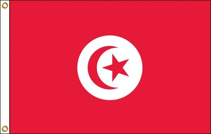 FW-140-5X8TUNISIA Tunisia 5' x 8' Outdoor Nylon Flag with Heading and Grommets-0
