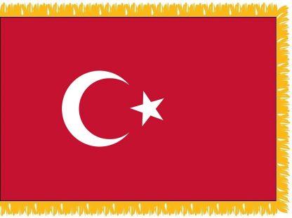 FWI-230-4X6TURKEY Turkey 4' x 6' Indoor Flag with Pole Sleeve and Fringe-0