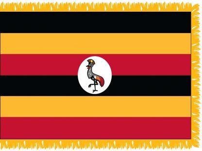 FWI-240-4X6UGANDA Uganda 4' x 6' Indoor Flag with Pole Sleeve and Fringe-0
