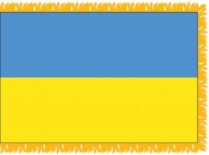 FWI-210-3X5UKRAINE Ukraine 3' x 5' Indoor Flag with Pole Sleeve and Fringe-0