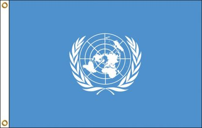 FW-125-UN United Nations 2' x 3' Outdoor Nylon Flag with Heading and Grommets-0