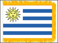 FWI-235-3X5URUGUAY Uruguay 3' x 5' Indoor Flag with Pole Sleeve and Fringe-0