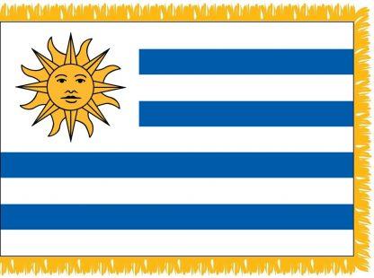 FWI-235-4X6URUGUAY Uruguay 4' x 6' Indoor Flag with Pole Sleeve and Fringe-0