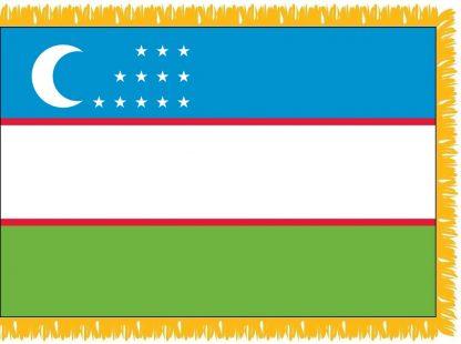 FWI-240-3X5UZBEKISTA Uzbekistan 3' x 5' Indoor Flag with Pole Sleeve and Fringe-0
