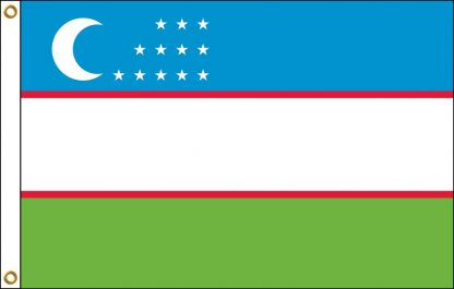 FW-140-3X5UZBEKISTAN Uzbekistan 3' x 5' Outdoor Nylon Flag with Heading and Grommets-0
