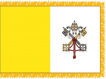 FWI-240-3X5VATICAN Vatican City 3' x 5' Indoor Flag with Pole Sleeve and Fringe-0